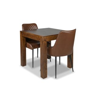 Extra Small Dakota Dining Table & 2 Henley Faux Leather Chairs