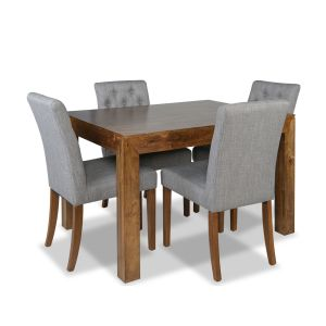 Dakota 120cm Dining Table & 4 Milan Button Fabric Chairs
