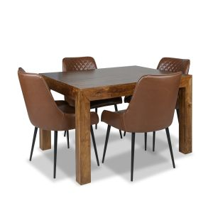 Dakota 120cm Dining Table & 4 Henley Faux Leather Chairs