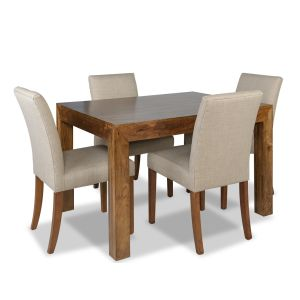 Dakota 120cm Dining Table & 4 Milan Fabric Chairs