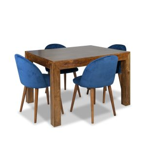 Dakota 120cm Dining Table & 4 Zena Velvet Chairs