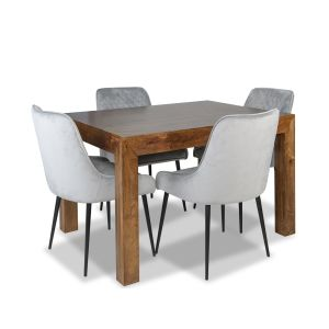 Dakota 120cm Dining Table & 4 Henley Velvet Chairs