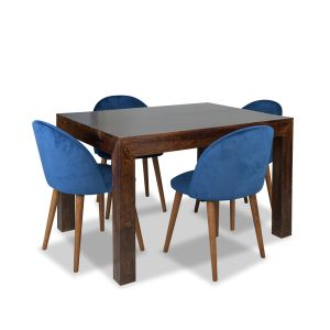 Mango 120cm Dining Table & 4 Zena Velvet Chairs