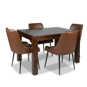 Mango 120cm Dining Table & 4 Henley Faux Leather Chairs