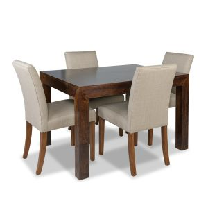 Mango 120cm Dining Table & 4 Milan Fabric Chairs