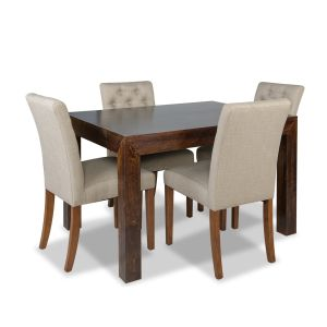 Mango 120cm Dining Table & 4 Milan Button Fabric Chair