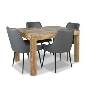 Light Dakota 120cm Dining Table & 4 Henley Faux Leather Chair
