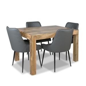 Light Mango 120cm Dining Table & 4 Henley Faux Leather Chairs