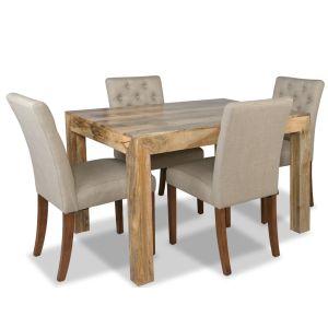 Light Dakota 120cm Dining Table &  4 Milan Button Fabric Chairs