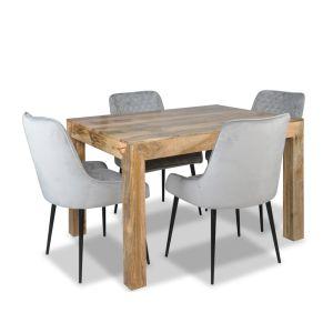 Light Mango 120cm Dining Table & 4 Henley Velvet Chairs