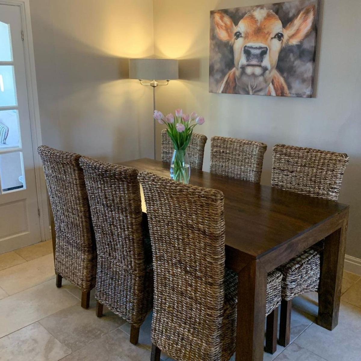 Mango Wood 160cm Dining Table & 6 Havana Chairs